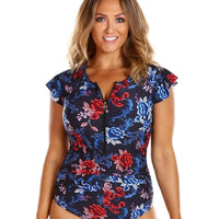 Capriosca Zip Front with Frill Sleeve One Piece Swimsuit - Embroidered Roses