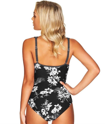 Sea Level Tropical Shadow Spliced B-D Cup One Piece Swimsuit - Black Swim