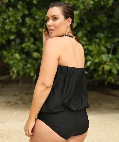 Capriosca Flouncy One Piece - Metallic Black Swim