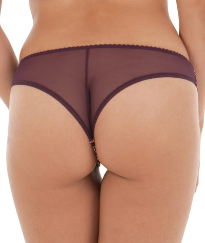 Curvy Kate Smoothie Soul Brazilian Brief - Mulberry Print - Back