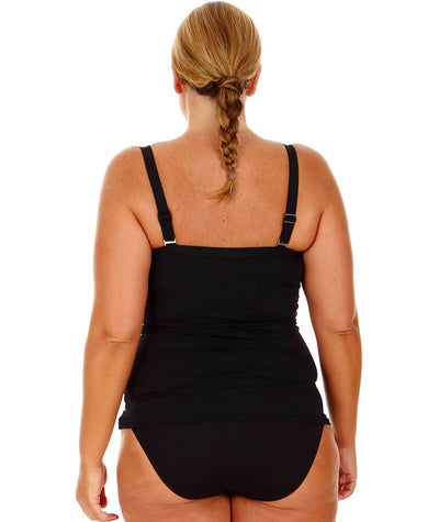 Capriosca Chlorine Resistant Plain Tankini with Bow - Black Swim