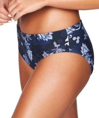 Sea Level Paisley Floral Mid Bikini Brief - Navy Swim