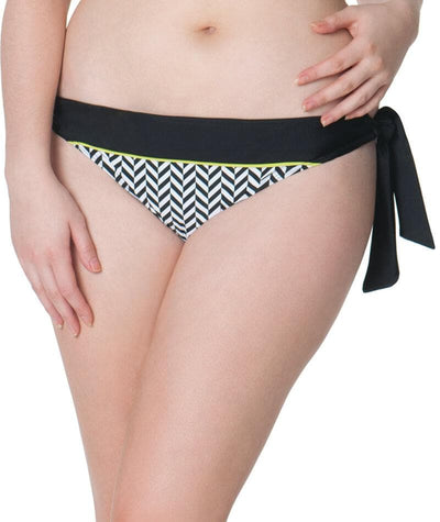 Curvy Kate Hypnotic Tie Side Bikini Brief - Monochrome/Olive