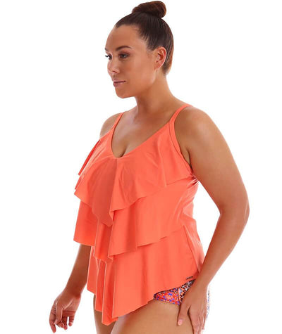 "Capriosca 3 Tier Tankini Top - Coral ""Side"""