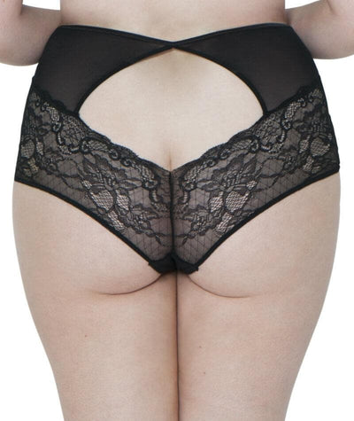 Scantilly Peek-A-Boo Lace High Waist Brief - Black Knickers