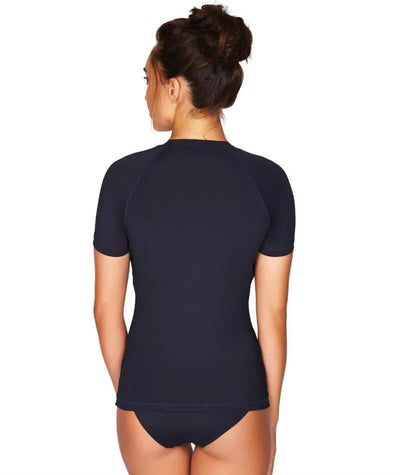 Sea Level Essentials Short Sleeved B-E Cup Rash Vest - Full Zipper - Night Sky Navy Swim