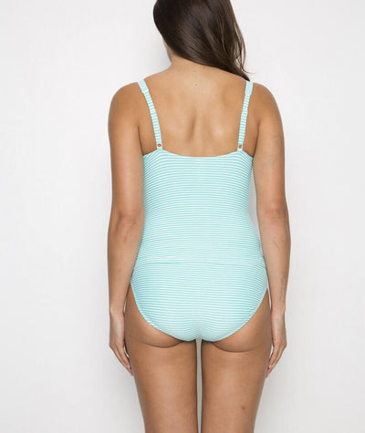 Nip Tuck Twist Bandeau Multi Fit Tankini Top - Mint/White - Back