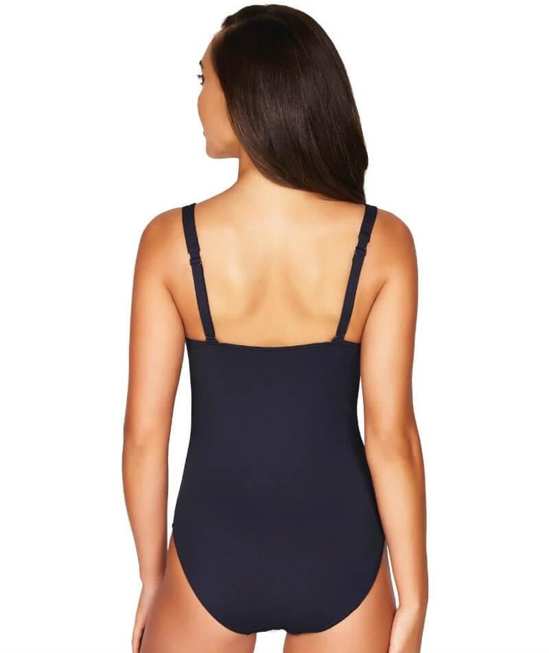 Sea Level Essentials Twist Front B-DD Cup One Piece Swimsuit - Night Sky Navy - Front