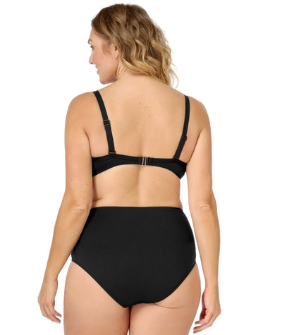 Artesands Plains Twist Front D / DD Cup Underwire Bikini Top - Black Swim
