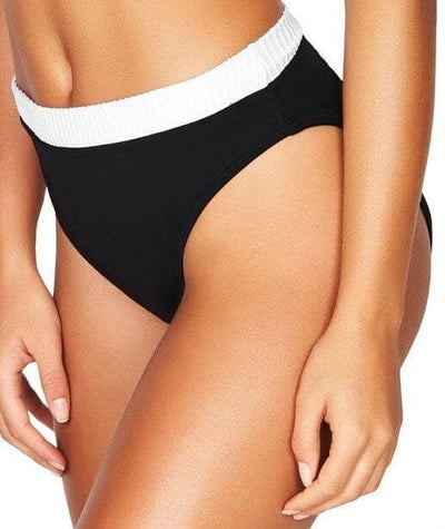 Sea Level San Sebastian Mid Band High Leg Bikini Brief - Black/White - Side