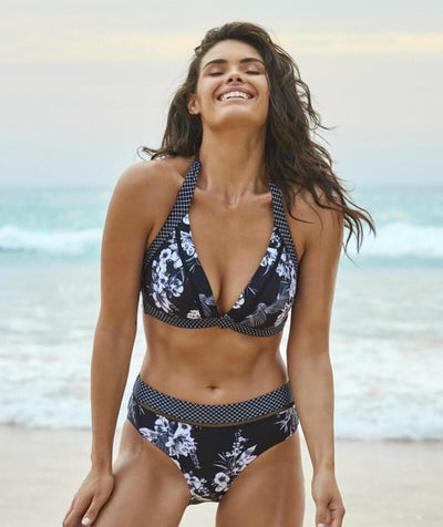 Sea Level Tropical Shadow Mid Bikini Brief - Black - Model