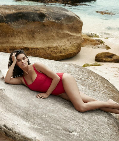 Sea Level Riviera Rib Square Neck A-D Cup One Piece Swimsuit - Red Swim