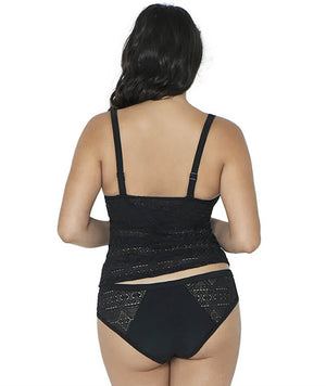Curvy Kate Rush Padded Balcony Tankini - Black - Front