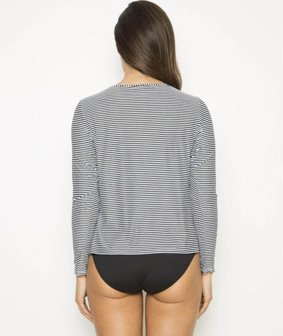 Nip Tuck Long Sleeve Swim Tee - Black/White - Back