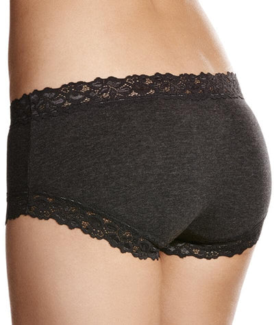 Jockey Parisienne Cotton Marle Boyleg - Charcoal Marle Knickers