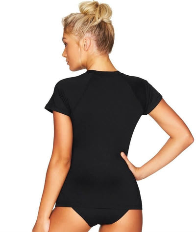 Sea Level Essentials Short Sleeved B-DD Cup Rash Vest - Full Zipper - Black Swim