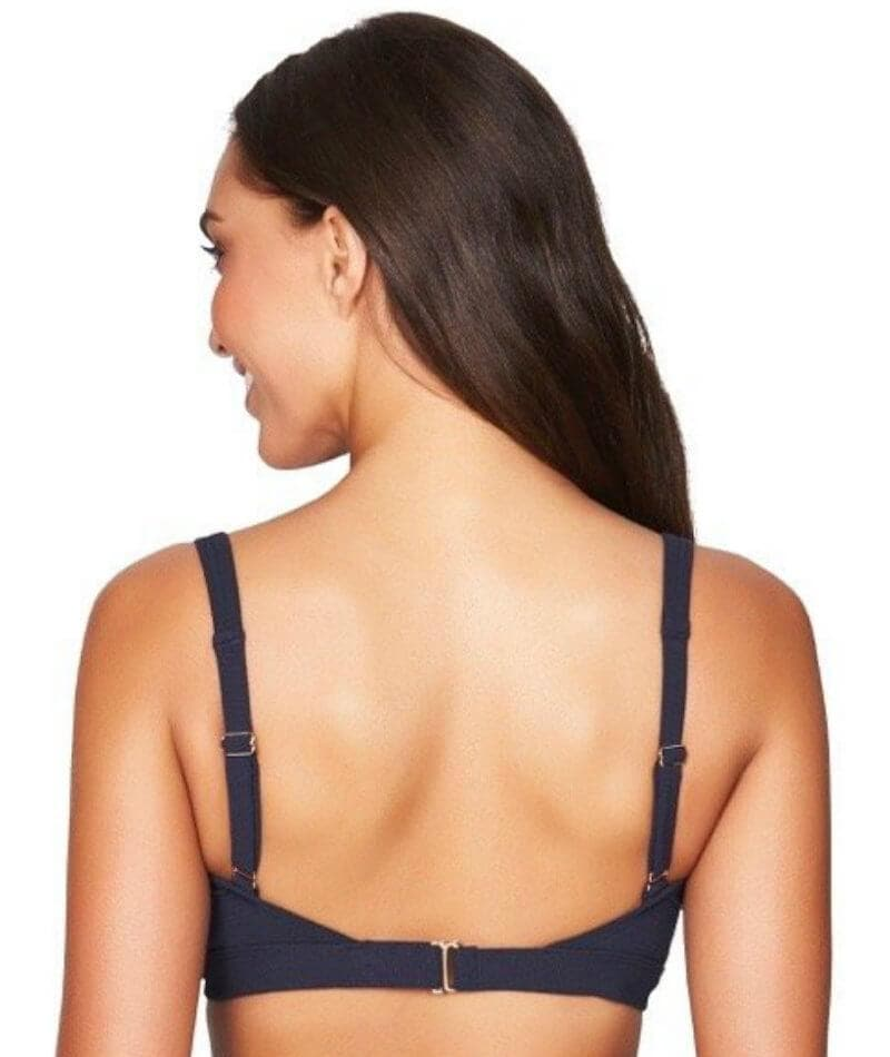 Sea Level Riviera Rib Square Neck A-D Cup Bikini Top - Night Sky Navy - Front