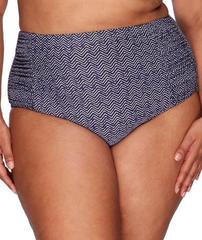 Artesands Rouched Side High Waist Brief - Zig Zag - Front