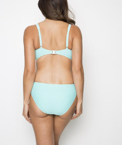 Nip Tuck Ruched Side Sorrento Stripe Bikini Brief - Mint/Whit
