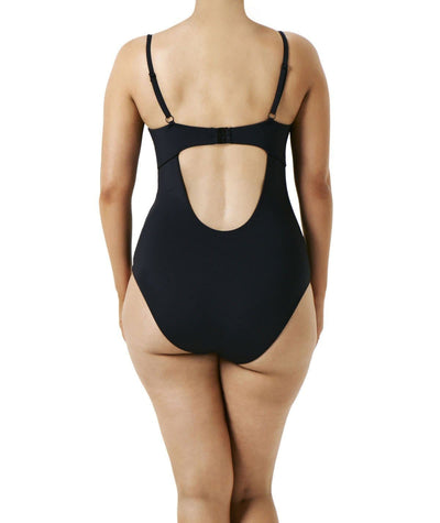 Robyn Lawley Criss Cross D/DD One Piece Swimsuit - Black/Limoncello