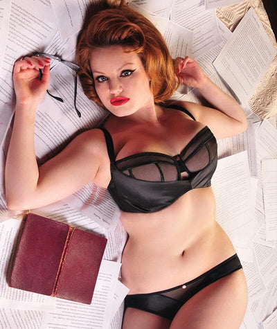 Scantilly Peek A Boo Bare Face Cheek Brief - Black - Front - Model - 2