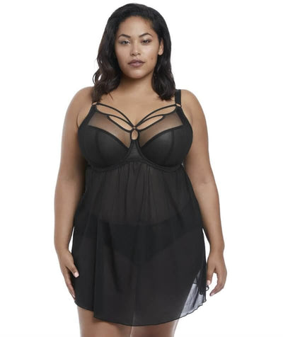 Elomi Sachi Black Underwired Babydoll - Black - Front