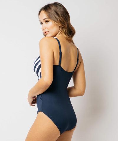 Nip Tuck Block Stripe Empire Multifit One Piece - Navy/White Swim