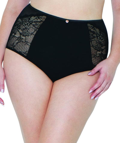Scantilly Peek-A-Boo Lace High Waist Brief - Black - Front