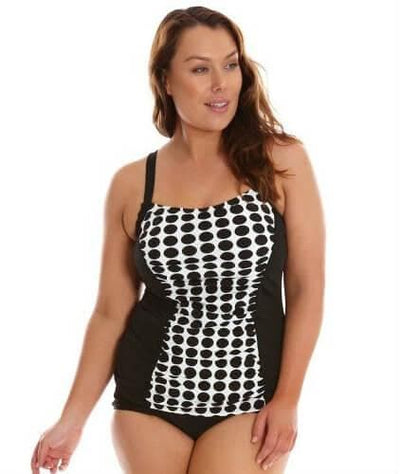 Capriosca Chlorine Resistant Panelled Tankini Top - Black & White Dots - Front