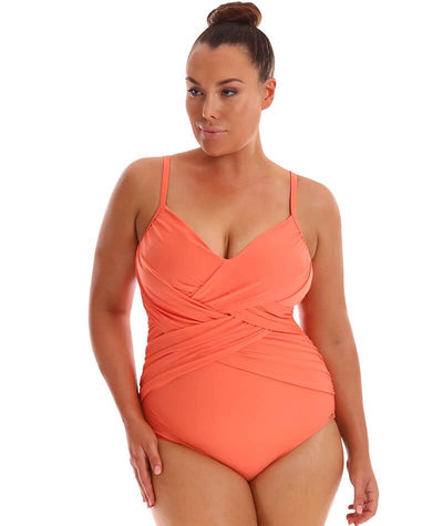 "Capriosca Criss Cross One Piece - Coral ""Front"""