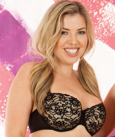Curvy Kate Vixen Balcony Bra - Black/Almond - Model - 2