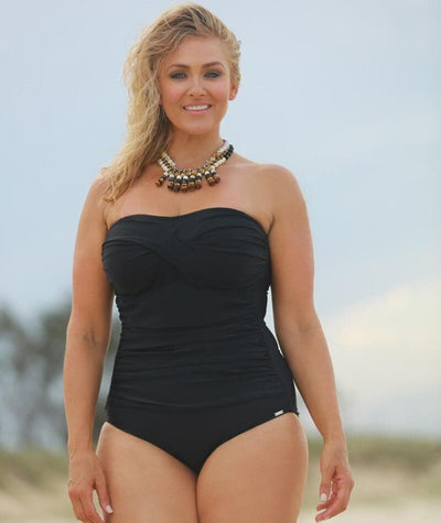 Capriosca Twist Front Bandeau One Piece - Black Swim 10