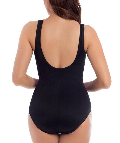 Miraclesuit Tahitian Temptress Fascination Underwire High Neck DD-G Cup One Piece Swimsuit - Black Swim