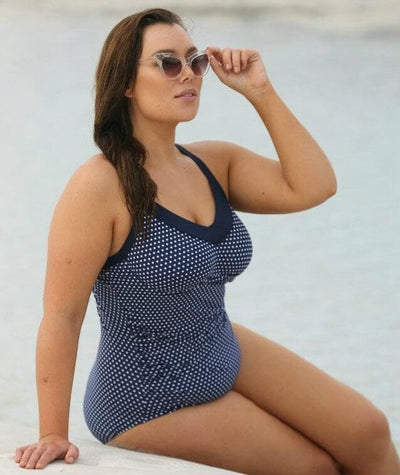 Capriosca Chlorine Resistant Underwire One Piece Swimsuit - Navy & White Dots Swim