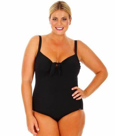 Capriosca Chlorine Resistant Plain One Piece with Bow - Black Swim 10