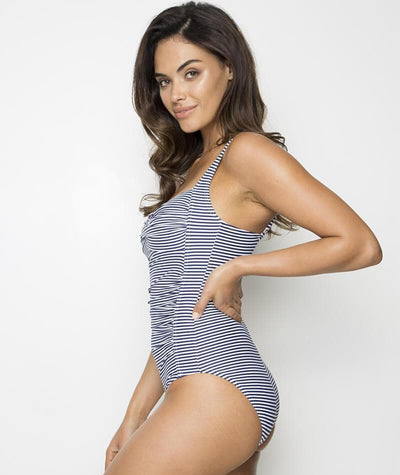 "Nip Tuck Twist Front Multifit C-E Cup Sorrento Stripe One Piece - Black/White ""Side"""