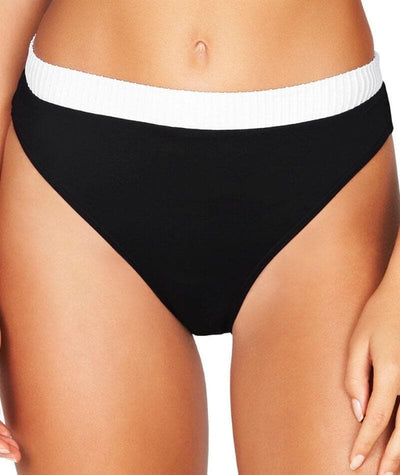 Sea Level San Sebastian Mid Band High Leg Bikini Brief - Black/White - Front