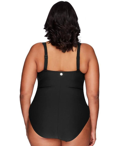 Artesands Botticelli Twist Front B-DD Cup One Piece Swimsuit - Black - Back