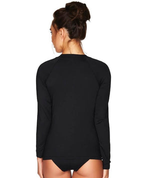 Sea Level Essentials Long Sleeved Rash Vest - Full Zipper - Black Swim 8