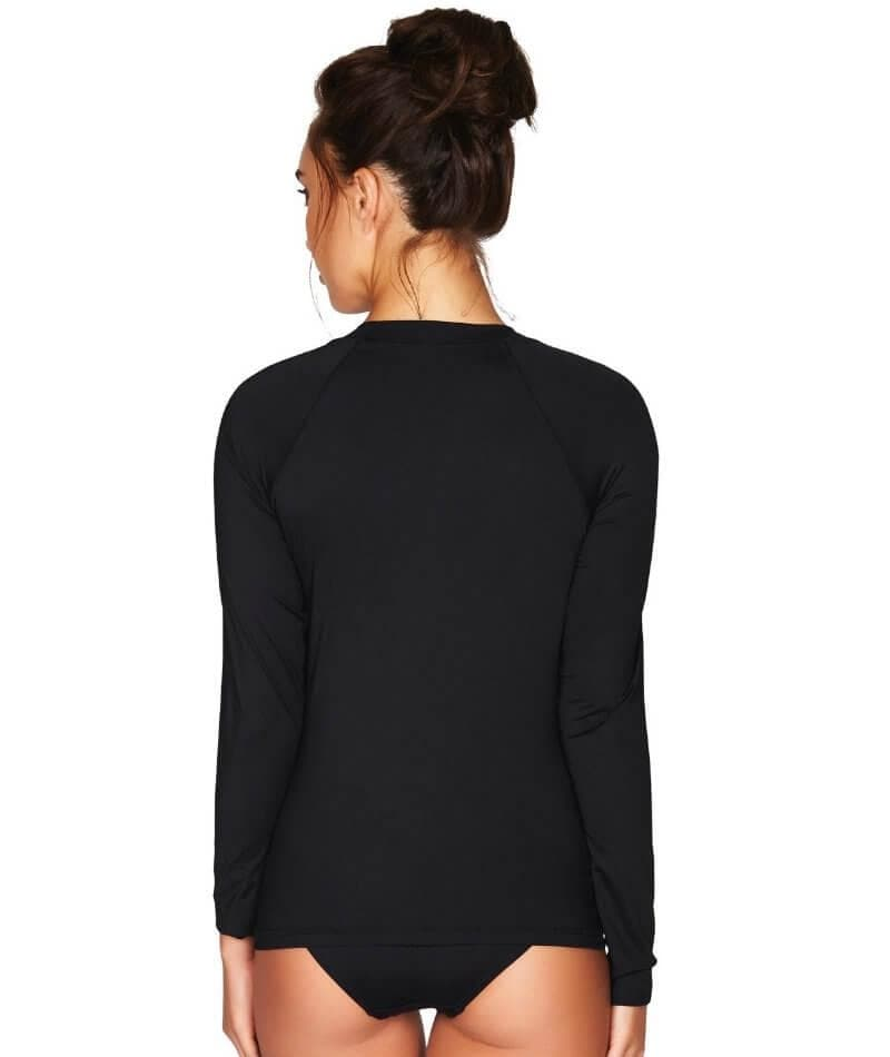 Sea Level Essentials Long Sleeved Rash Vest - Full Zipper - Black - Front