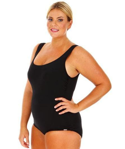 Capriosca Chlorine Resistant Retro One Piece Plain - Black Swim