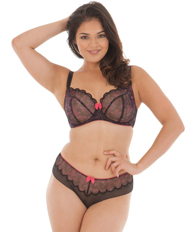 Curvy Kate Sheer Bliss Balcony Bra - Mulberry Print - Model - Front