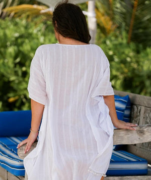 Capriosca Cotton Kaftan - White Swim OS
