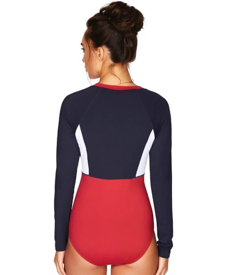Sea Level Essentials Long Sleeve B-DD Cup One Piece Swimsuit - Red White & Navy - Front