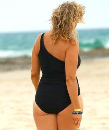 Capriosca Plain Matt One Shoulder One Piece - Black Swim