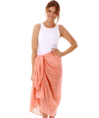Capriosca Beach Cover Up Sarong - Coral - Model - Front