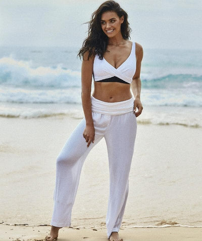 Sea Level Plains Folded Band Beach Pant - White - Model