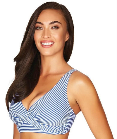 Sea Level Sorrento Stripe Cross Front B-DD Cup Bikini Top - French Blue - Side
