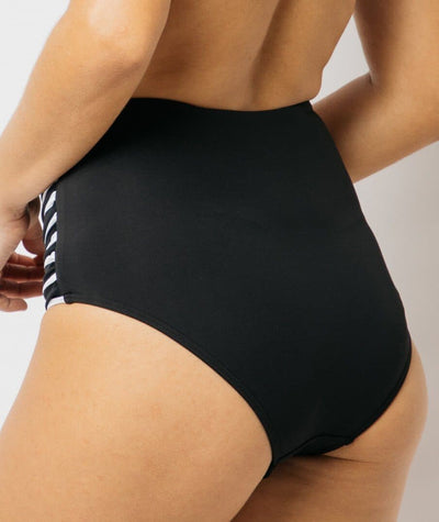 Nip Tuck Gathered Side High Waist Brief Block Stripe