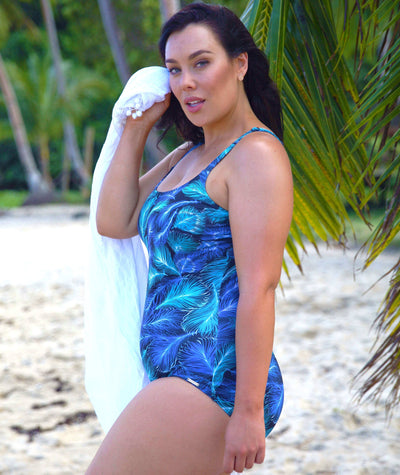 Capriosca Peacock Feather Chlorine Resistant One Piece - Blue Swim